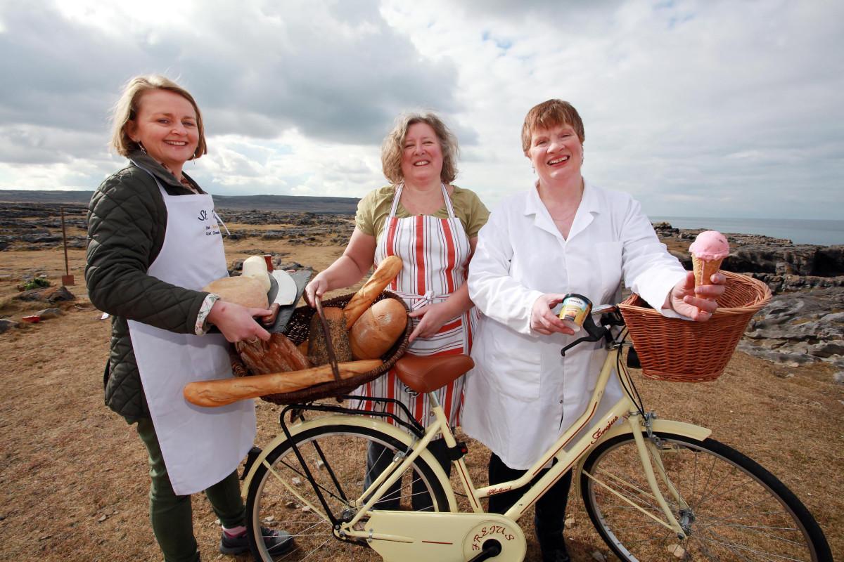 Siobhan Ni Ghairbhith-St. Tola's Goats Cheese, Eva Hegarty, Burren Free Range Pork and Brid Fahy-Linalla Ice Cream. Photograph by Yvonne Vaughan