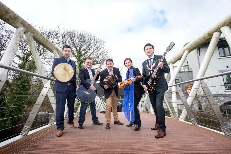 INIS Fest organisers John McCarthy, Darren Purtill, Declan O'Grady and Carmen Cronin with Mayor of Ennis Johnny Flynn pictured at the original launch of INIS Fest in January 2015. Pic Arthur Ellis Pic Arthur Ellis