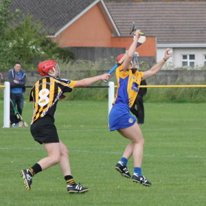 Chloe Morey goes high to catch a dropping bal ahead of Kilkenny's Aisling Dunphy. Picture: Caroline O'Keeffe