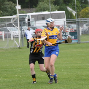 Eimear Kelly holds possession in spite of Kilkennys Jacqui Frisby. Picture: Caroline O'Keeffe