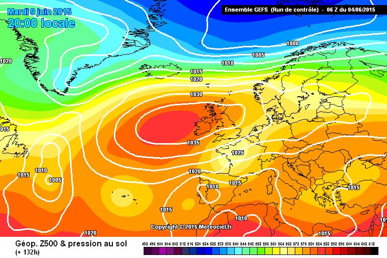 High pressure over Ireland next week. Image Meteociel.fr