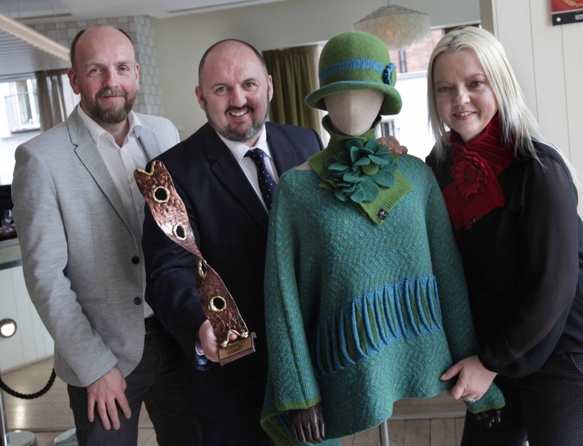 Anne Behan and Stephen McConnell, left, of Áine Knitwear from Clare and Kieran Comerford, Chair of Network of Local Enterprise Offices. Photo: Mark Stedman/Photocall Ireland