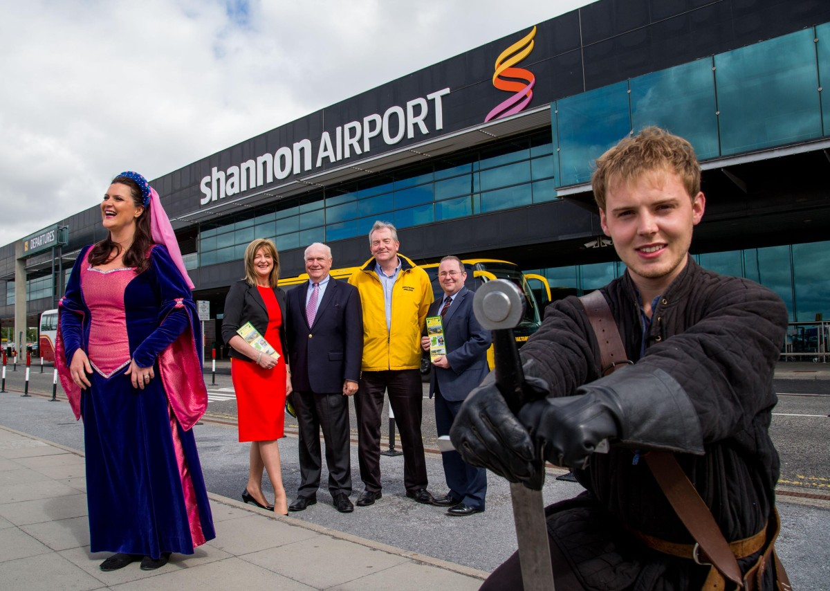 Launching the service at Shannon Airport were, Lynne Connolly, Bunratty Castle, Marie Slattery, Head of Marketing Shannon Airport, Jim Kelly, Vice President Sales, Railtours, USA & Canada, Jim Deegan, Railtours Ireland, Cormac Downes, National Sales Manager, Iarnrod Eireann and Dave Collins, King Johns Castle. Picture: Alan Place/FusionShooters.