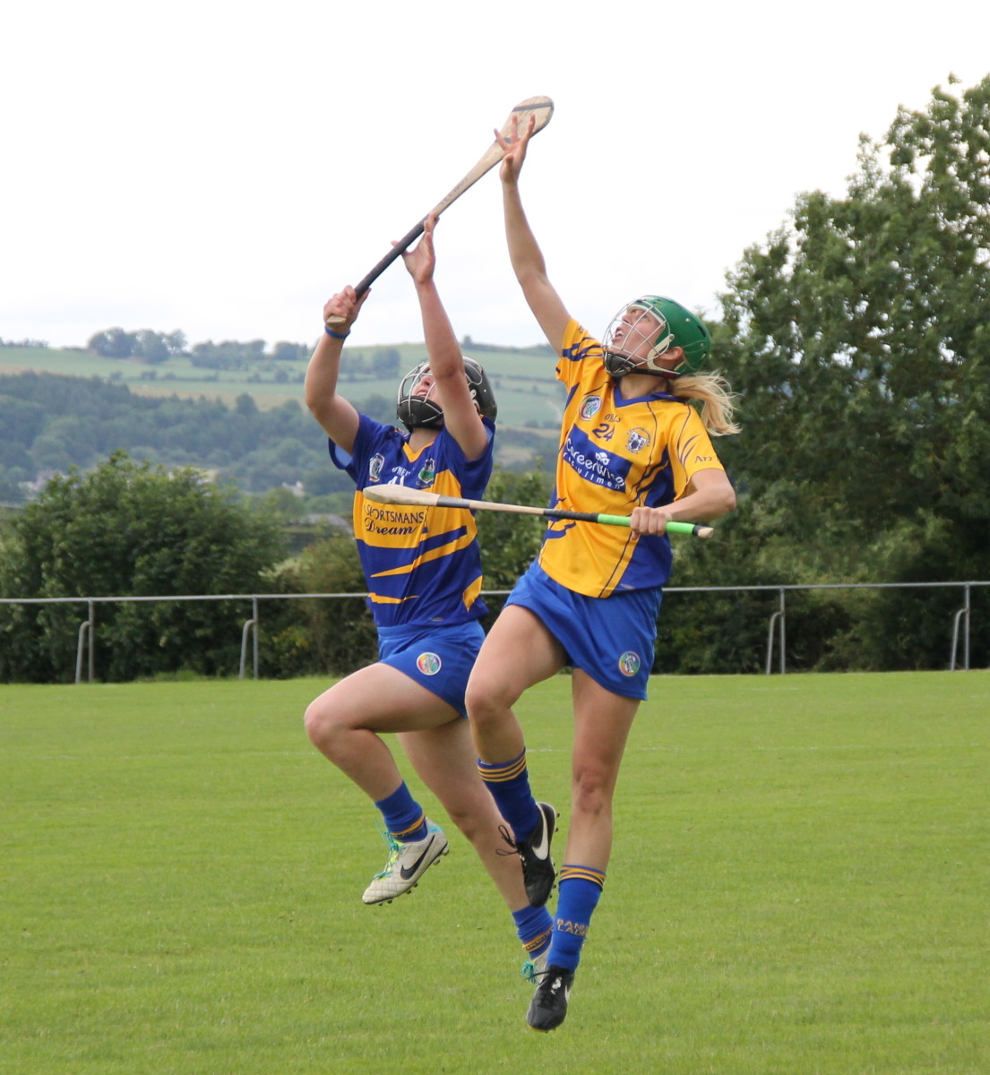 Camogie Clares Emma O'Driscoll & Tipps Mairead Teehan go high for a dropping ball in the Liberty Insurance S
