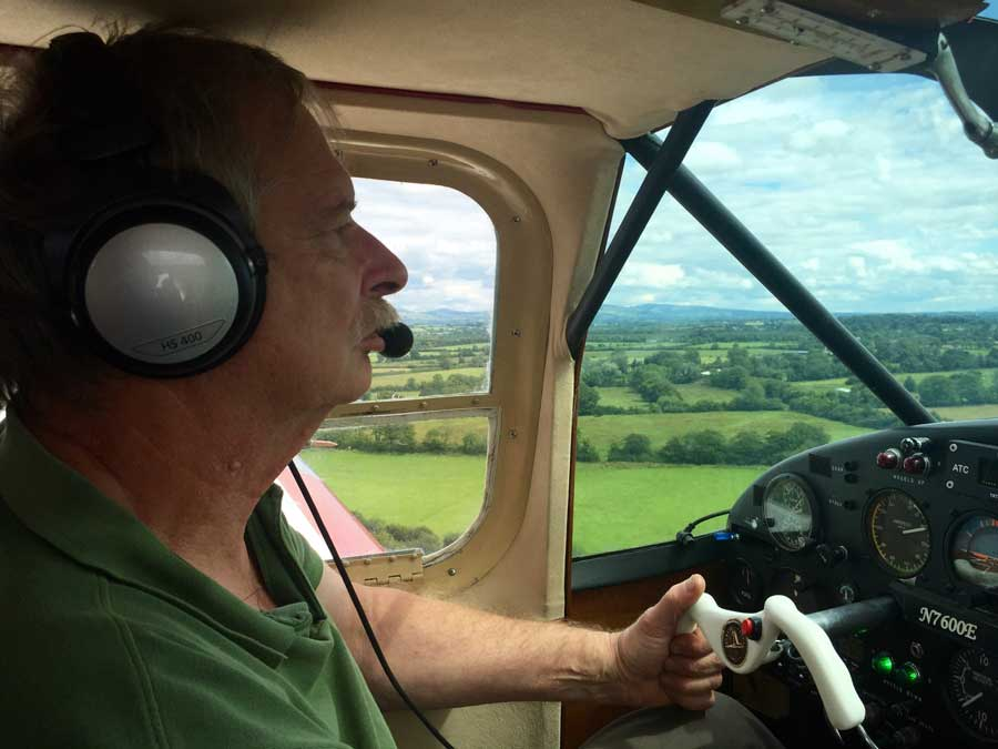 Howard Cox (67) photographed flying a Bellanca super cruiser over Brittas, County Limerick on Saturday afternoon. Pic c/o John Drysdale