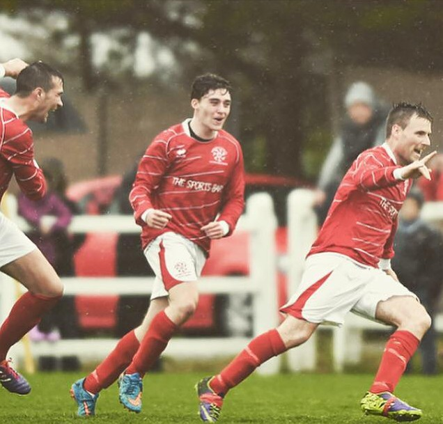 Ian Collins (centre) celebrates after setting up David McCarthy for a crucial goal in the 2015 Clare Cup Final