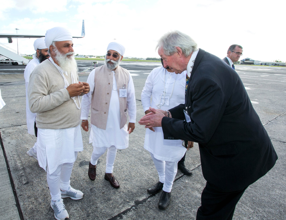 Uday Singh is greeted at Shannon Airport by Cllr James Breen, Cathaoirleach Clare County Council. Pic Arthur Ellis.