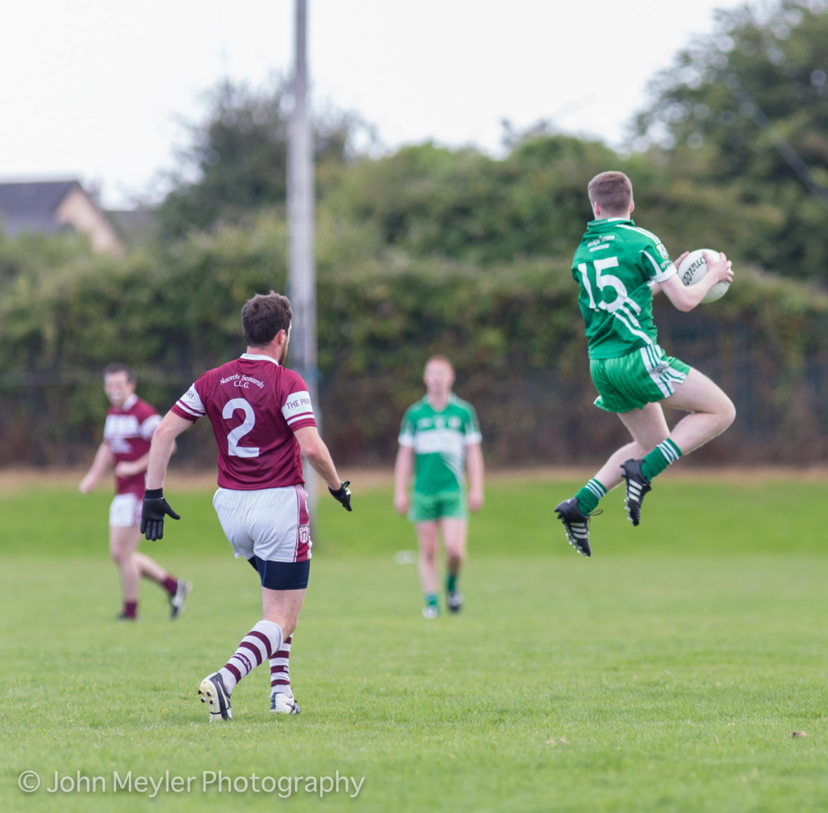 Brian O'Connor leaps to the ball ahead of Phillip Ryan. Picture: John Meyler