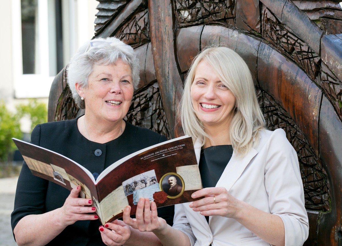 Anne Jones and Rene Franklin pictured at the launch of the McMahon Archival Coolection at the County Museum Ennis on Thursday.Pic Arthur Ellis