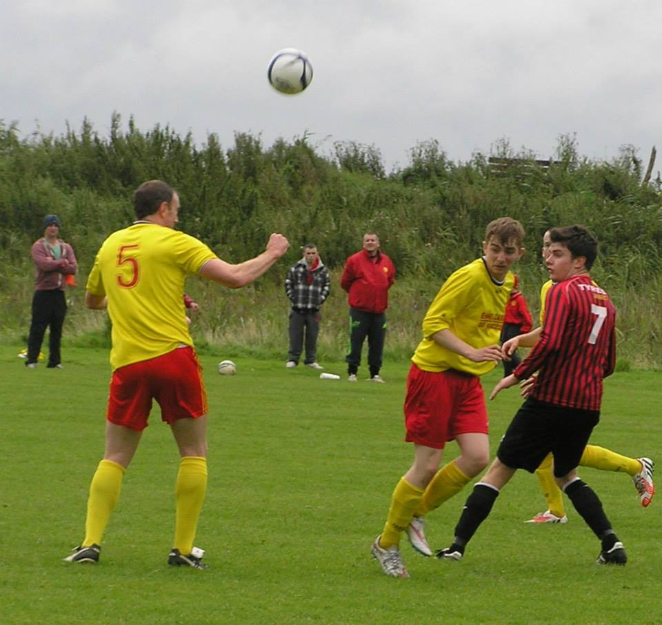 Action from today's Premier Division clash between league leaders Bridge United A and Avenue United A. Pic c/o Clare Soccer