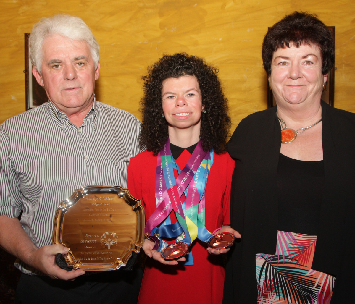 Olympian Ashleigh O'Hagan with her parents Brian and Phil O'Hagan. Picture: Dermot Lynch