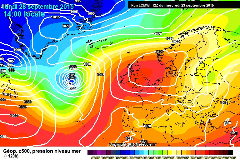 High pressurewill feed in a warmer continental airmass across Ireland next week. Chart for Monday, Sep 28th. Image meteociel.fr