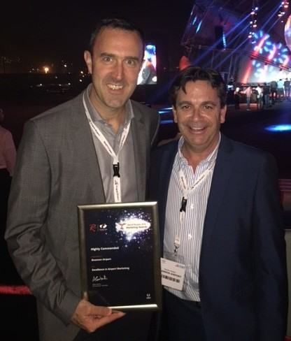 Shannon Group Chief Commercial Officer Andrew Murphy and Shannon Airport Head of Aviation Development after receiving the World Routes Marketing Award in Durban, South Africa.