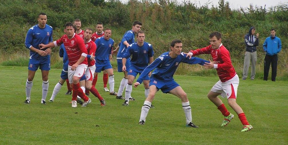 Action from today's drawn Premier League tie between Bridget United A and Newmarket A