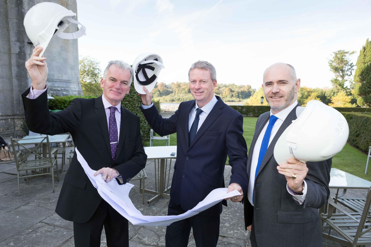 Hats off to new developments at Shannon Free Zone... pictured at Dromoland Castle Hotel (from left): Kevin Thompstone, president, Shannon Chamber; Ray O'Driscoll, managing director, Shannon Commercial Properties; and Eoin Mc Manus, business director, Three. Photo: Eamon Ward