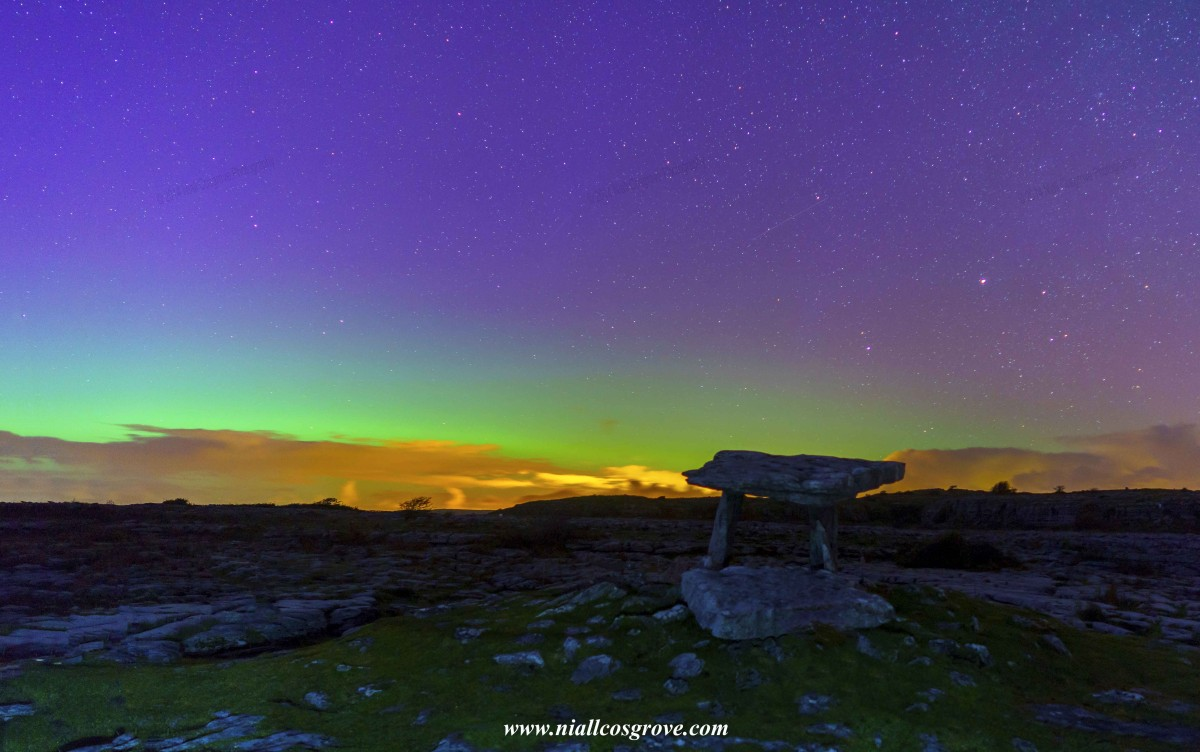 The Northern Lights over Poulnabrone Dolmen in North Clare. Pic Niall Cosgrove