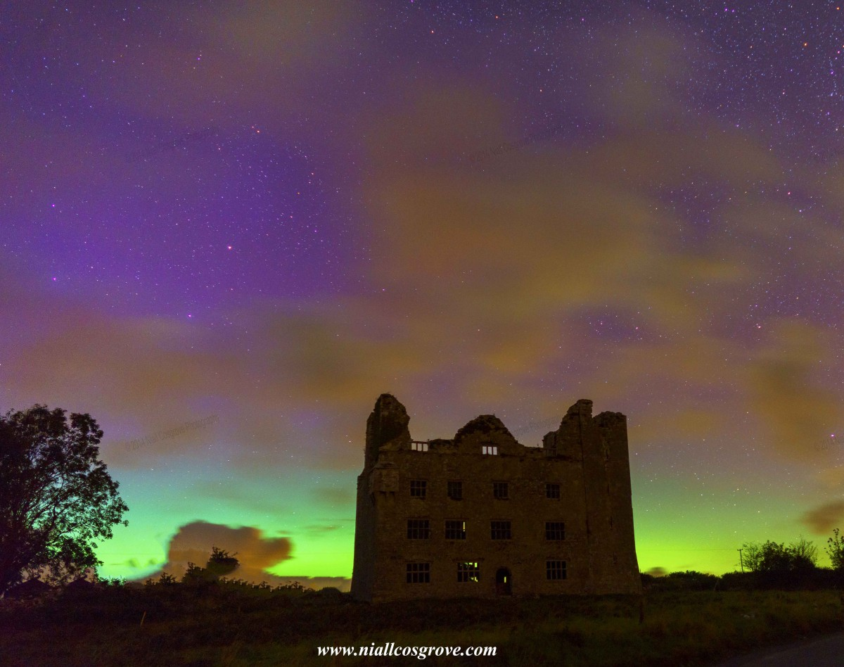 The Northern Lights over Leamanegh Castle in North Clare. Pic Niall Cosgrove