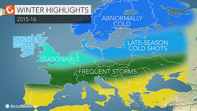 Forecast for Europe, Winter 2015-16. Image c/o www.accuweather.com