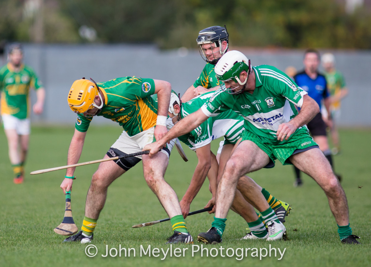 Declan O'Rourke fights for the sliotar with Cathal Chaplin. Picture: John Meyler