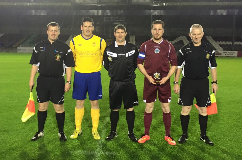 Clare Captain Paddy Purcell pictured (second from left) ahead of Friday night's game. Pic c/o Clare District Soccer League