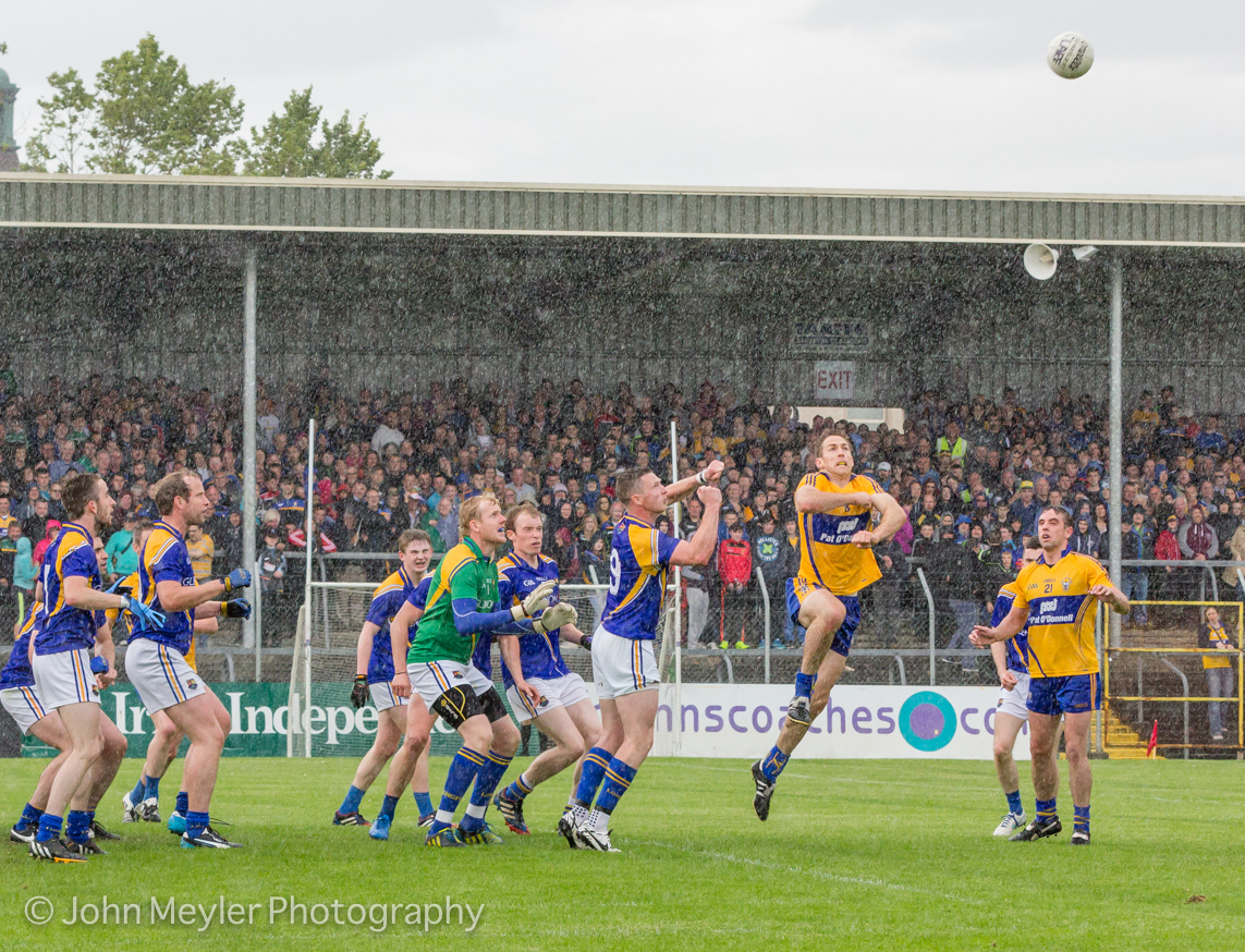 Clare's Gary Brennan reaches for the ball in his county's Championship match against Longford in Summer 2015. Pic John Meyler