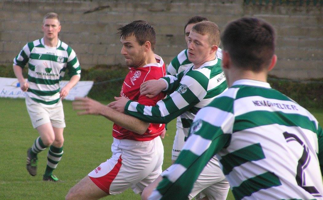 Newmarket striker David McCarthy scored twice this evening. Pic Oliver Fitzpatrick