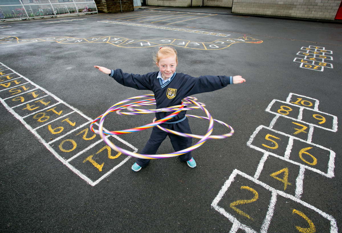 Pictured at St Aidans NS Shannon Co Clare is Ami Corden spinning her hoops.Pic Arthur Ellis.