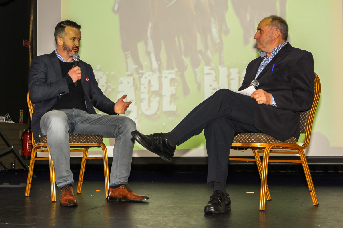 Former All Star and Cork hurler, and current Clare Senior Hurling Coach/Selector Donal Óg Cusack being interviewed on stage by Clare FM's Syl O'Connor during the Race Night fundraiser for Clare hurling teams from U14 level up to Senior. The event took place this week at Treacy's West County Hotel in Ennis. Credit John Meyler Photography repro free