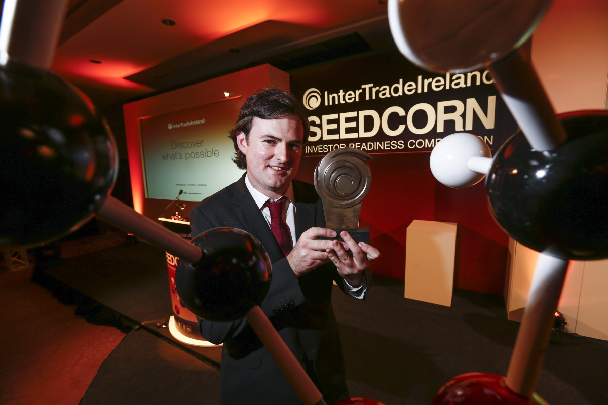 Picture shows overall 2015 Seedcorn winner Kieran Normoyle from Ocean Survivor. Limerick company, Ocean Survivor, was crowned the Overall Winner of the 13th annual InterTradeIreland Seedcorn competition, winning a cash prize of €100,000 at the grand final held at Clontarf Castle. Picture Conor McCabe Photography.