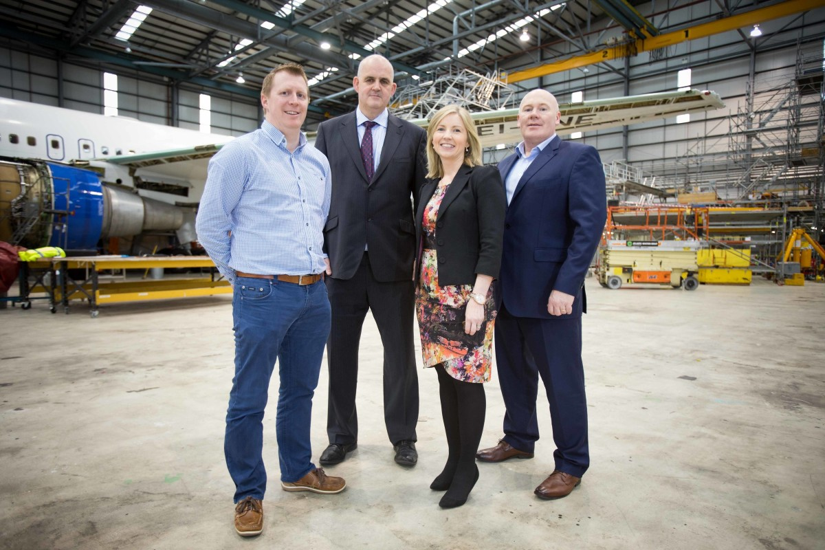 Atlantic Aviation Group owner Patrick Jordan (Middle) and CEO Connor Flanagan (Right) welcome Shane O'Neill - Chief Operating Officer (L) and Edel Jordan - Director of Strategy & Marketing to the management team. The company moves into 2016 with a focus on strategic growth and change. Photograph by Eamon Ward