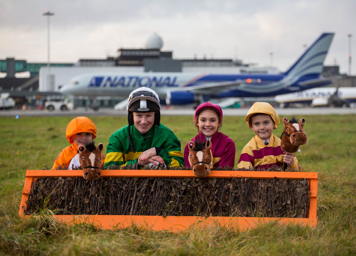 Launching the event at Shannon Airport were, Champion Jockey, Nina Carberry with, Billy, 5, Katie, 10 and Tom, 7 Maher, Clonlara Co. Clare. Picture: Alan Place/FusionShooters