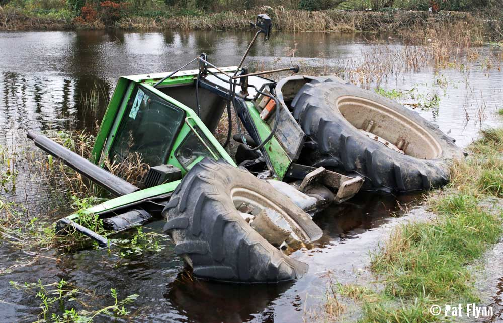 The driver of this tractor had a lucky escape near Feakle -Photo: © Pat Flynn 2015