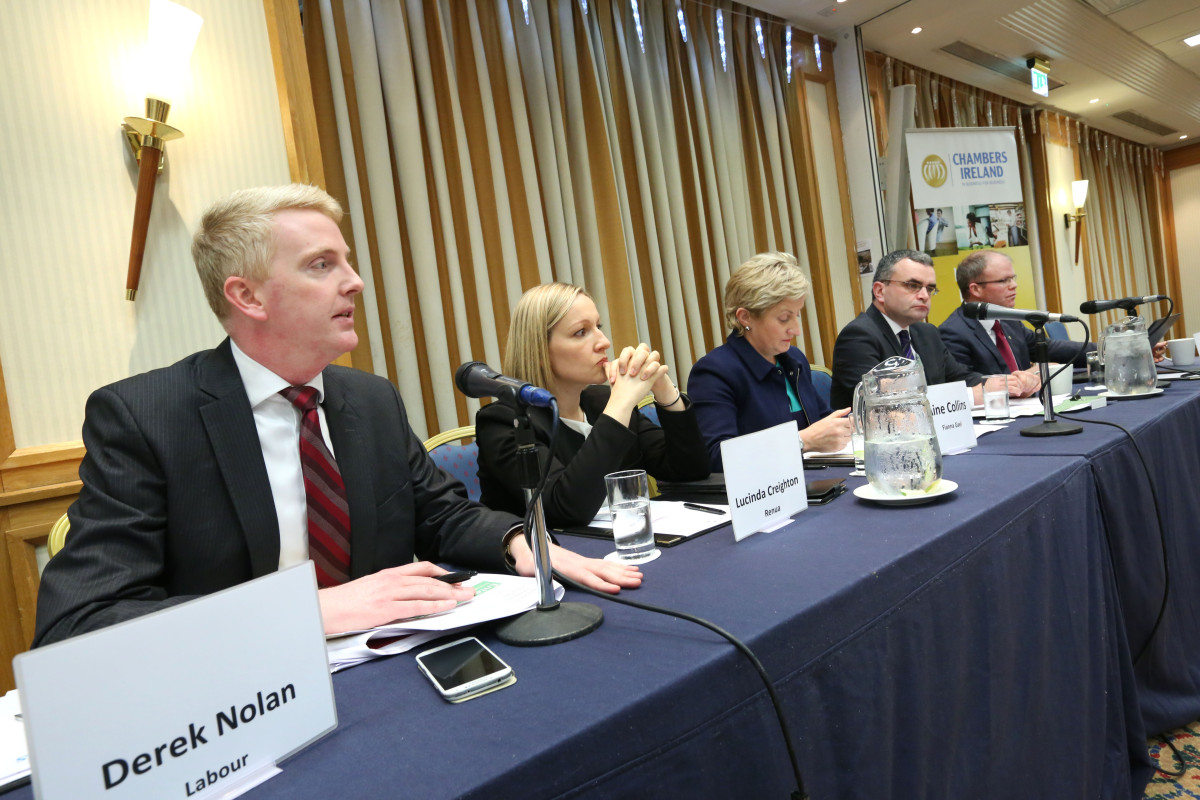 Pictured are Derek Nolan; Labour, Lucinda Creighton; Leader Renua, Aine Collins, Fine Gael TD and deputy chair of Fine Gael Enterprise Jobs and Innovation committee; Dara Calleary TD, Fianna Fail Enterprise spokesperson; Peadar Toibín, Sinn Fein Enterprise spokesperson. Picture: Finbarr O'Rourke