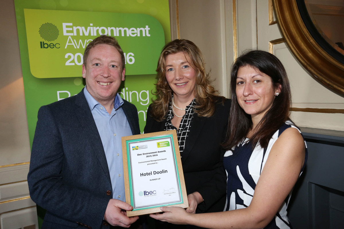 Donal Minihane, General Manager, Hotel Doolin pictured with Mary Rose Burke of Ibec and Raquel Noboa of Hotel Doolin.
