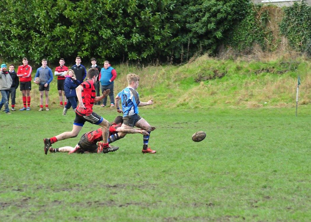 Conor Ferns is tackled late. Picture: Joe Buckley