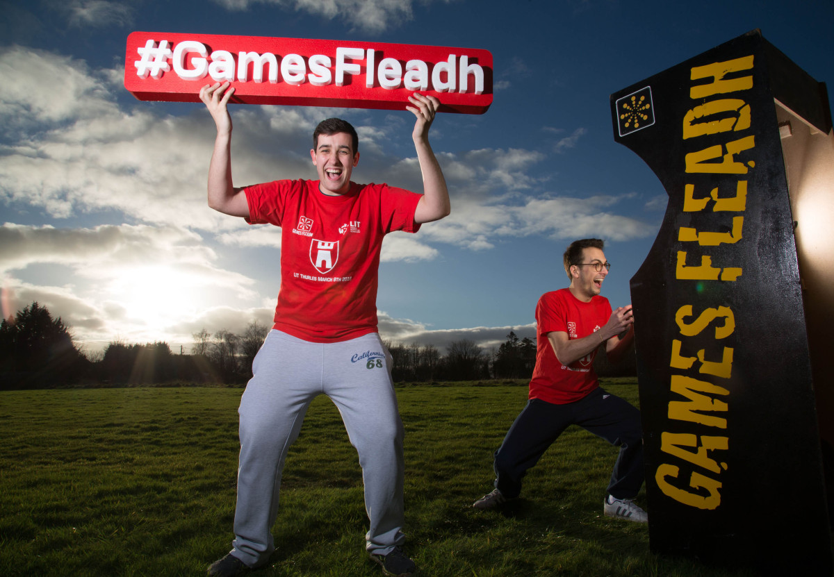 Launching the event at LIT Thurles were 4th year Game Design students, Sean O'Connor and Tommaso Marenzi. Picture: Alan Place/Fusionshooters