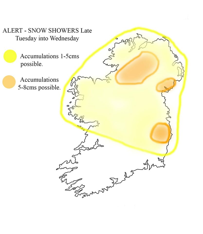 Snow prediction chart from Irish Weather Online
