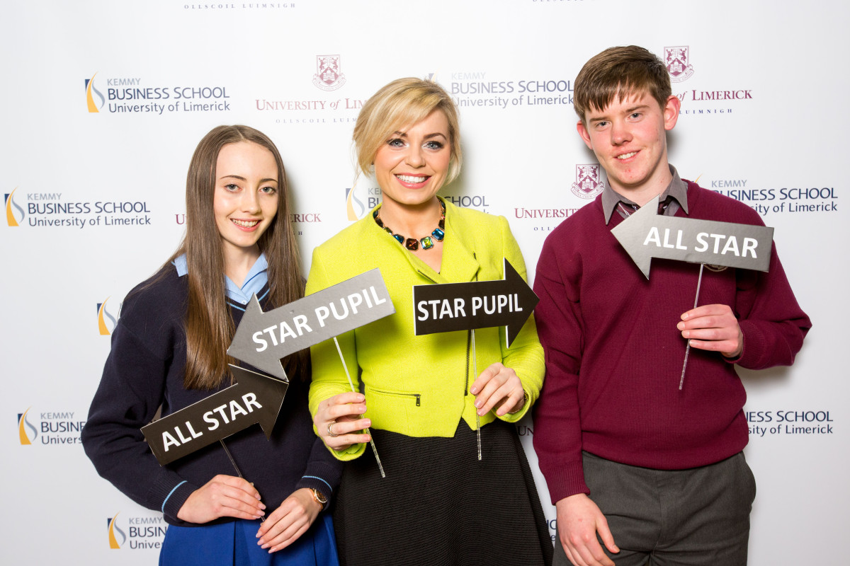 Caoimhe Roughan, Colaiste Mhuire, Ennis, Irelands Fittest Family coach Anna Geary and Conor Murphy, CBS Ennistymon attending the Kemmy Business School Junior Certificate Award Ceremony in UL Picture: Oisin McHugh/FusionShooters.