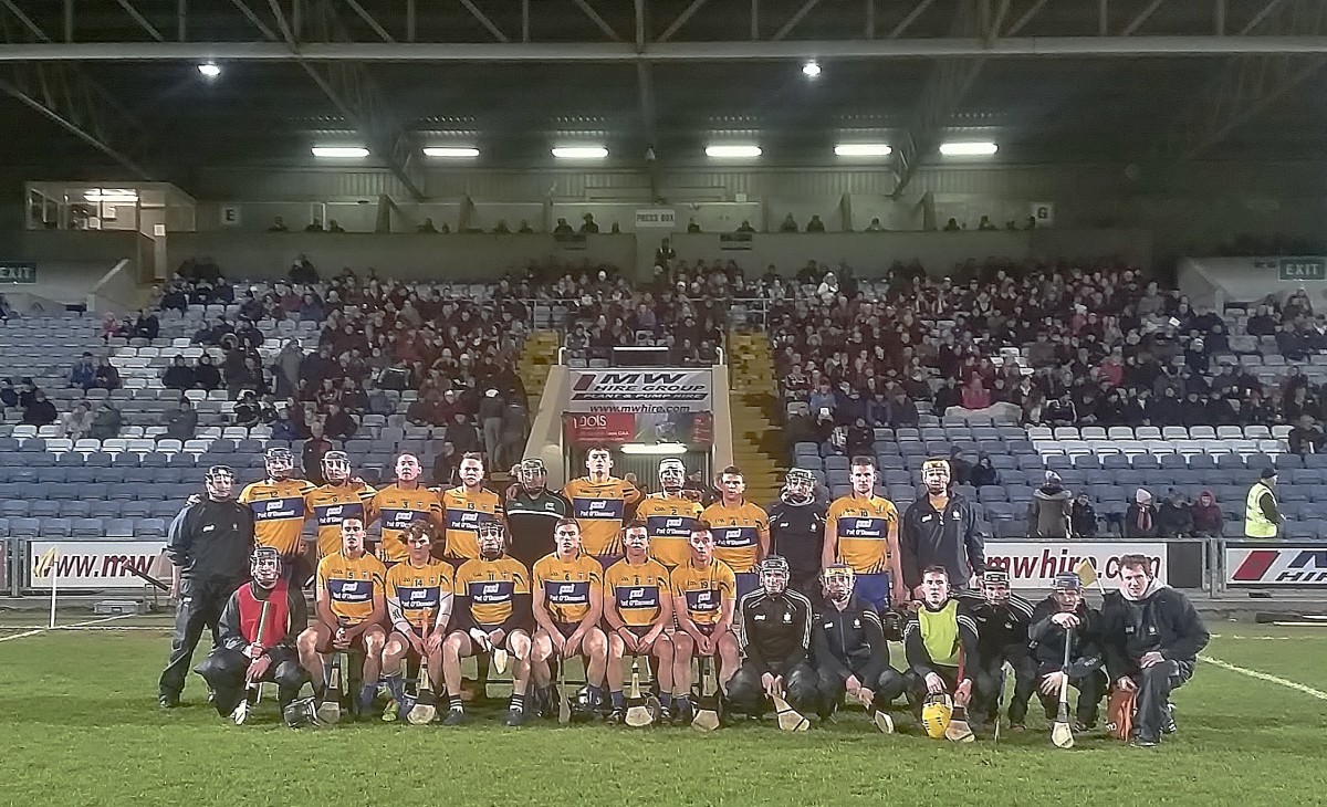The Clare team and substitutes line out ahead of the Laois game on Saturday night