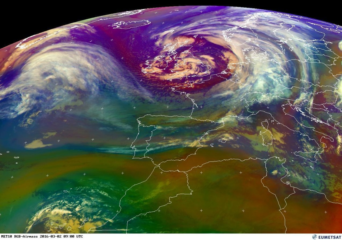 Storm Jake as visible on this EUMETSAT RGB image on Wednesday morning