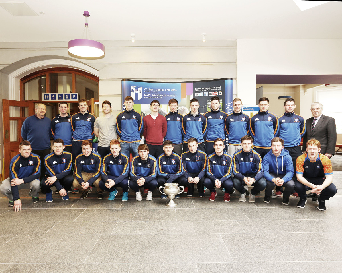 Pictured at the Mary Immaculate College Fitzgibbon Cup Homecoming were Back row from left Eamonn O Cregan, team manager, Tadhg Gallagher, Jody Hannon, Niall O'Meara, Colm Barry, Micheal Loughlin, John Meagher, Richie English, captain, Declan Hannon, Maidhc O Conghaile, Conor Twomey, Liam Corry and MIC President Michael A. Hayes. Front row from left Shane Taylor, Kieran Cleary, Paul O'Connell, David Sweeney, Mikey O'Neill, Conor Sheahan, Sean Kilduff, Colm Galvin, Sean Linnane, Brian Roughan, Pa Ryan