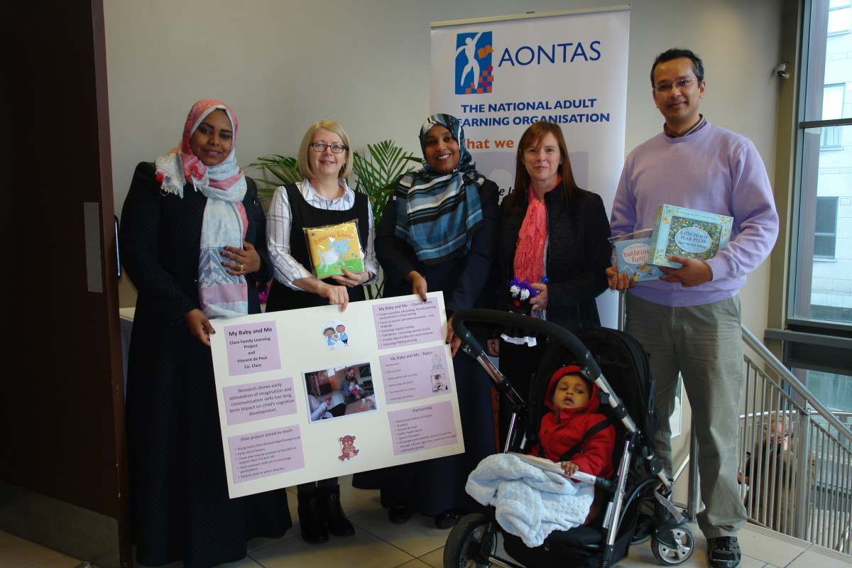 Ten pilot courses were shortlisted for an Aontas Star Award in February. Aysha Sali, Mary Flanagan, Coordinator,  Safi Ali Salih, Christine Hogan, Dipankar Biswas, Teacher who attended the My Baby and Me shortlisted group interview recently.