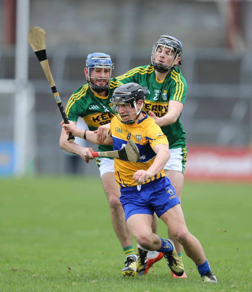 Clare's David Reidy and Kerry's Jack Goulding and Jason Diggins in action during the Allianz Hurling League match between Clare and Kerry at Cusack Park,Ennis on Sunday. Photograph by Eamon Ward