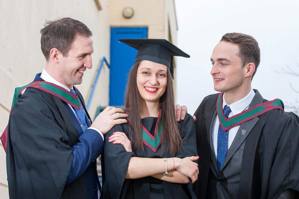Pictured L-R are Clare graduates Gerry Quinn, Kilnaboy,Teodora Todorova, Crusheen and Eamon Chesser, Ennis.Pic Arthur Ellis