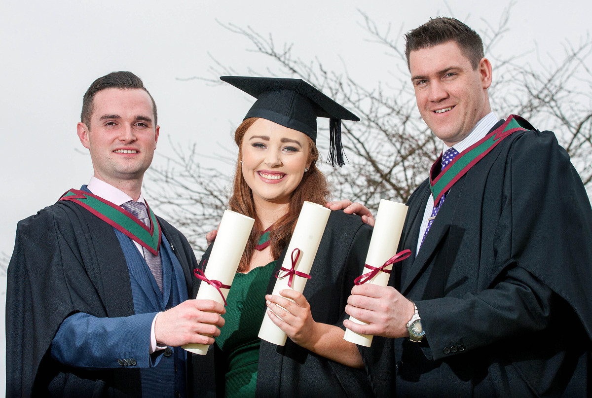 Pictured L-R are Kerry graduates Peter Searle, Castegregory, Aine Buckley, Killarney and Cillian Moran, Ardfert.Pic Arthur Ellis