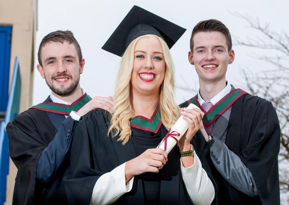 Pictured L-R are Limerick graduates Julian Enright, Mungret, Rachel Connolly, Fedamore and Paul Clarke, Pallaskenry.Pic Arthur Ellis