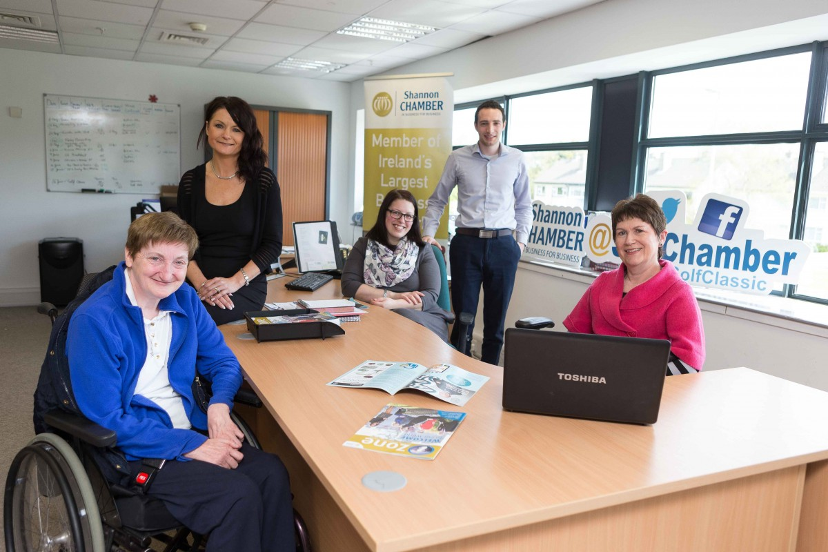 Job shadow participant Kathleen McAuliffe pictured in Shannon Chamber's office with (from left): Helen Downes, chief executive, Lijana Kizaite, Cillian Griffey and Dympna O'Callaghan.