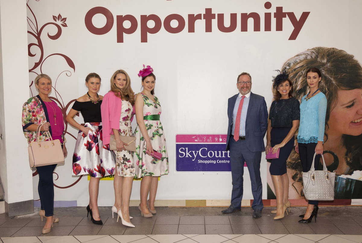 Pat Kelly, SkyCourt Shopping Centre manager teams up with Celia Holman Lee; the participating models; Nicolle Meehan, Pulse Accessories; Louise Tsang, SASH Ladies Fashion and Susan Delahunty, Marcos Footwear. Photo: Salvatore Conte