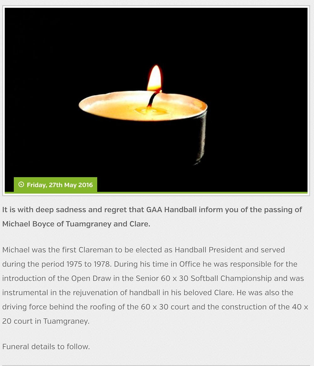 Tribute on GAA Handball Facebook page.