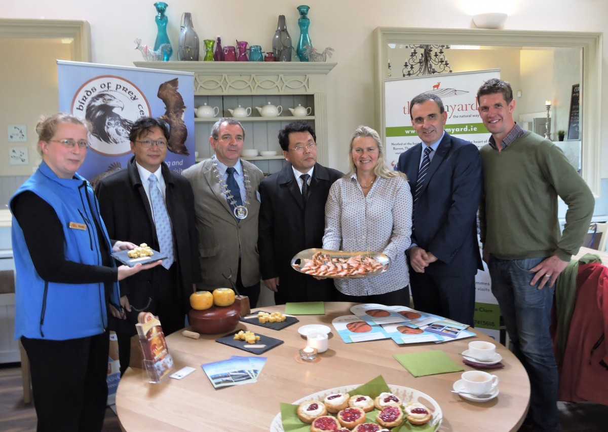 Pictured at The Farymard, Corofin ( l to r)  Nuala Mulqueeny, Aillwee Caves; Li Jiming, Deputy Secretary General of the People's Government of Yunnan Province; Cllr. Tony O'Brien, Leas Cathaoirleach, Clare County Council; His Excellency Mr Liu Huiyan, Vice Governor of Yunnan Province; Birgitta Hedin Curtin , Burren Smokehouse; Gerard Dollard, Interim Chief Executive Clare County Council and Darragh Quinn, The Farmyard, Corofin.